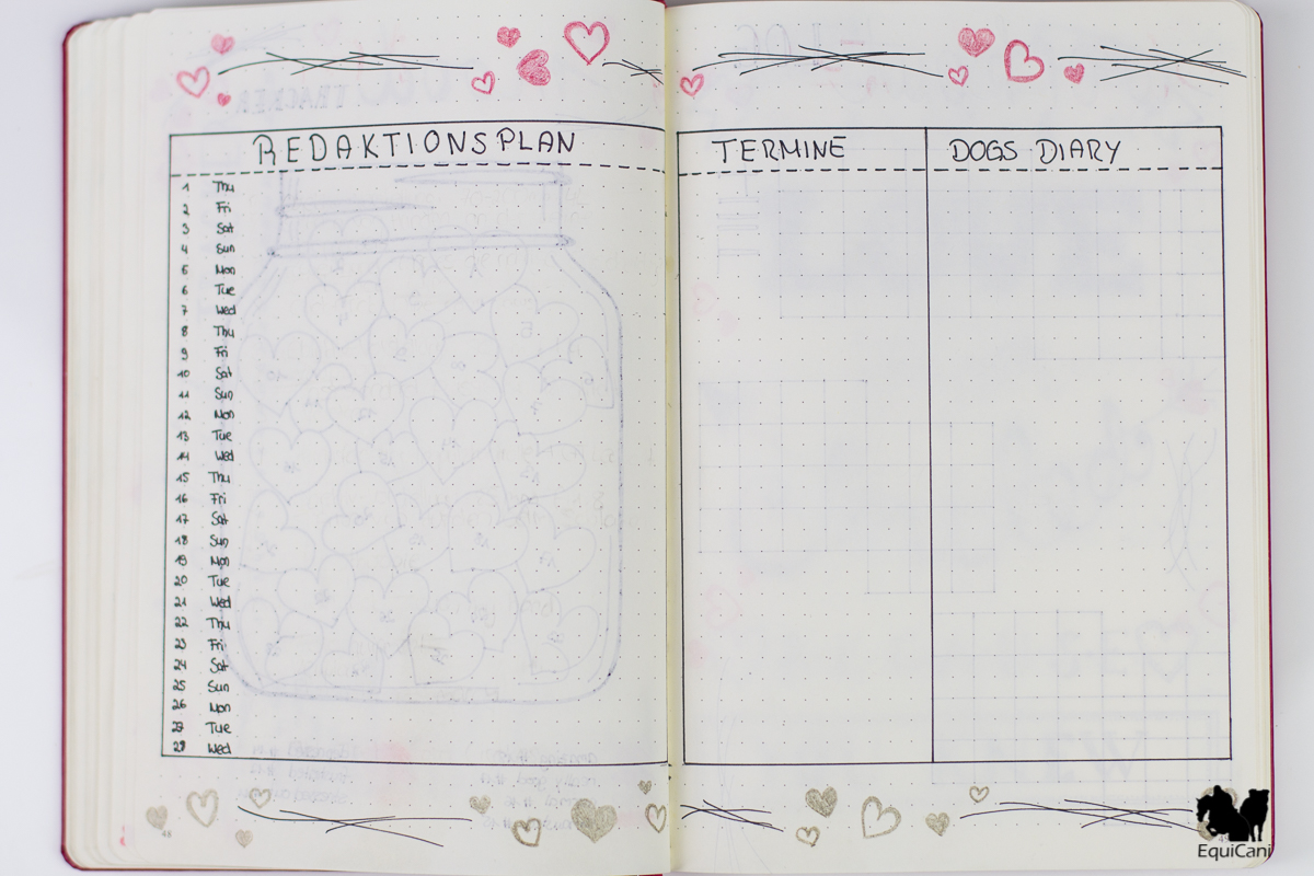 Plan with me: February Bullet Journal Redaktionsplan