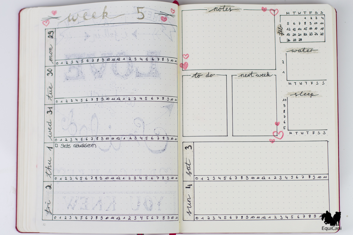 Plan with me: February Bullet Journal Weekly Spread