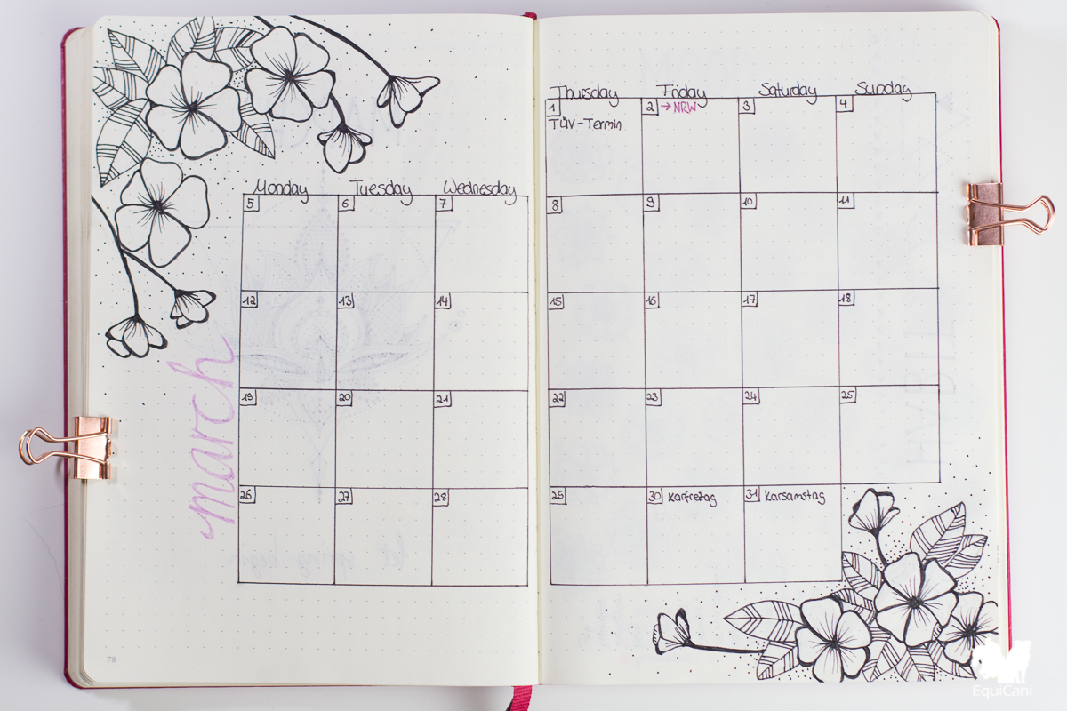 Bullet Journal Plan with me March let spring begin Monthly Spread