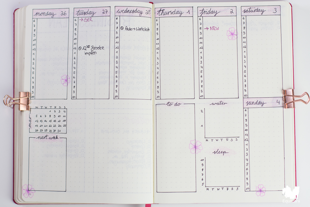 Bullet Journal Plan with me March let spring begin Weekly Spread