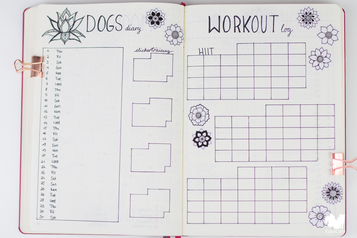 Bullet Journal Plan with me March let spring begin Workout Log Dogs Diary