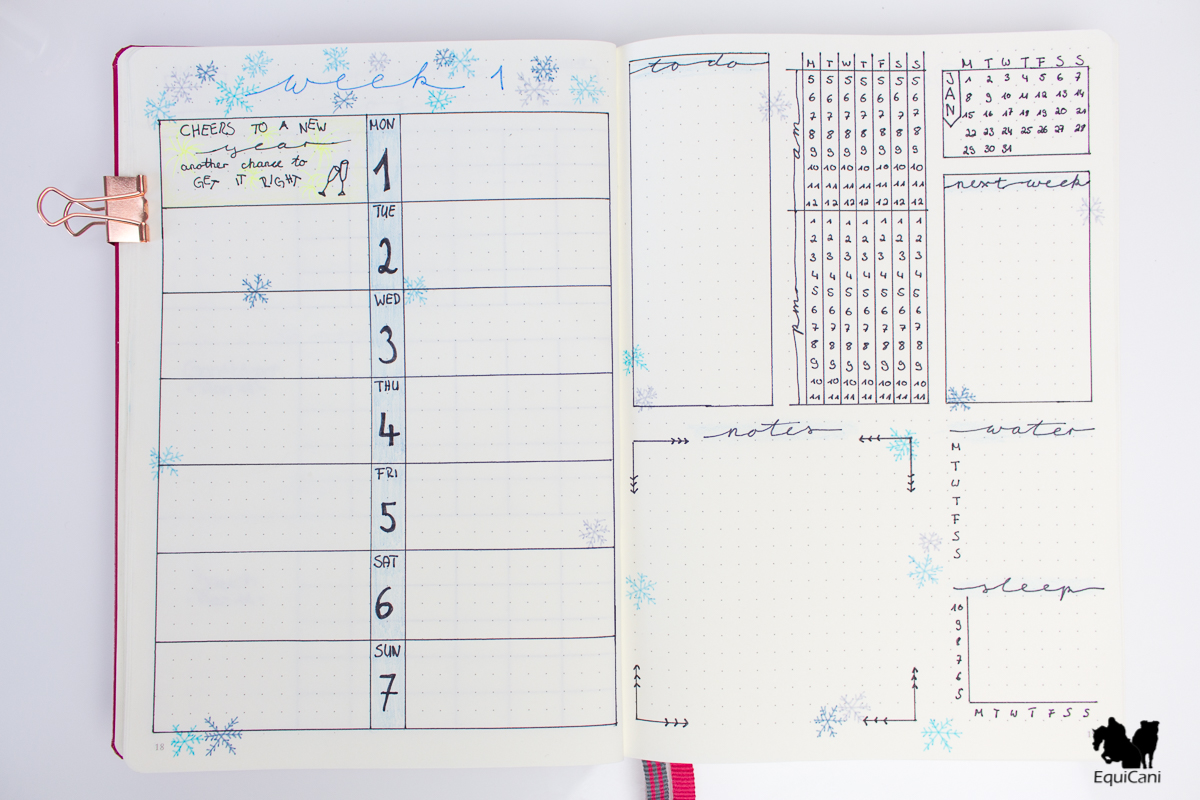 Bullet Journal Setup 2018 Weekly Spread